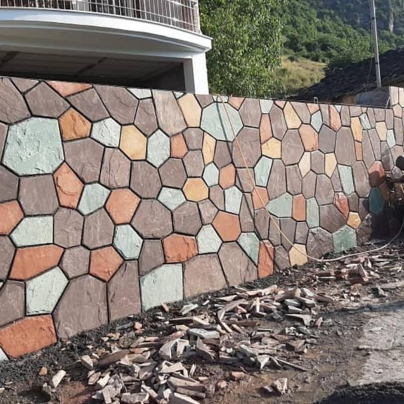 اجرای دیوار با سنگ ورقه ای سنگ لاشه سنگ مالون سنگ کوهی
